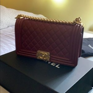 CHANEL Bags - Chanel medium le boy,maroon gold